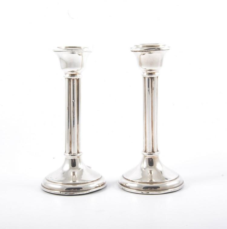 Pair of silver candlesticks fluted columns flared pedestal for Fluted pedestal base