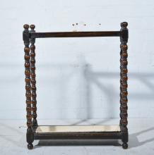 Oak hall mirror, and an oak stickstand with bobbin turned supports.
