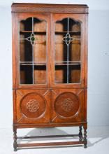 Glazed bookcase cabinet, with cupboard under.
