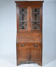 Edwardian oak bureau bookcase, moulded cornice, plain frieze, astragal glaz