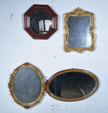 Mahogany oval wall mirror with beaded surround, and five other mirrors. (6)
