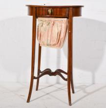 Edwardian mahogany sewing table, basket under.
