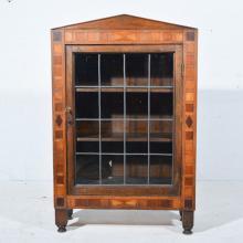 Small oak glazed bookcase, inlaid border, W62cm x D37cm x H74cm, together w