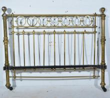Victorian brass and iron tubular bed, width approximately 160cm
