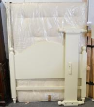 Flat packed double bed, cream, double mattress.