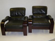 Alvar Aalto Style 80s Bentwood and Leather  Lounge chairs.