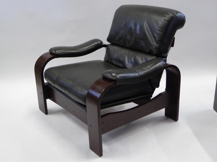 Alvar aalto style 80s bentwood and leather lounge chairs for 80s lounge chair