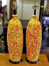 PAIR of Fab Brutal Lava / Crater Glaze Mid Century Modern Table Lamps.
