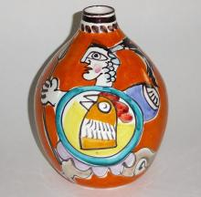 Large Pottery Vase with Gladiators by DeSimone, Italy 1960s