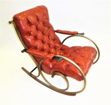 Woodard Midcentury Modern Sculptural Tufted Leatherette Rocking Chair