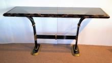 In the Manner of Karl Springer Tesselated Horn & Brass Deco Style Console.