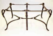 Faux Leather Wrought Iron Equestrian Table in the Style of Hermes 1970s