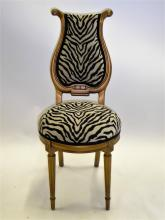 Musical Motif Gildwood Side Chair in Zebra Chenille 1940s