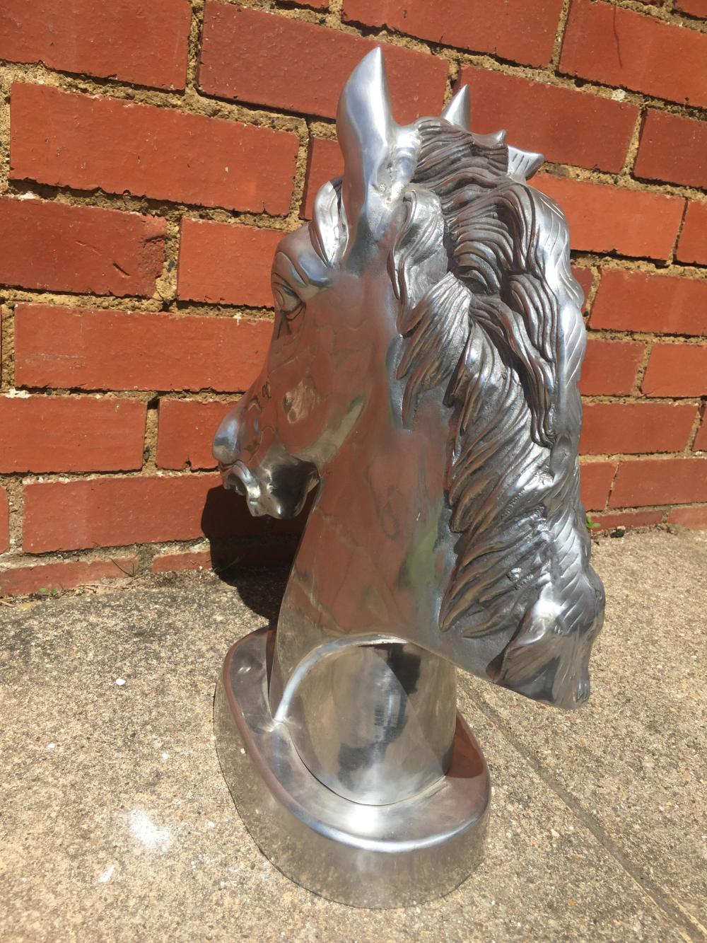 Solid Aluminium with Marble Base Contemporary Silver Bust of a Horse H 42cm