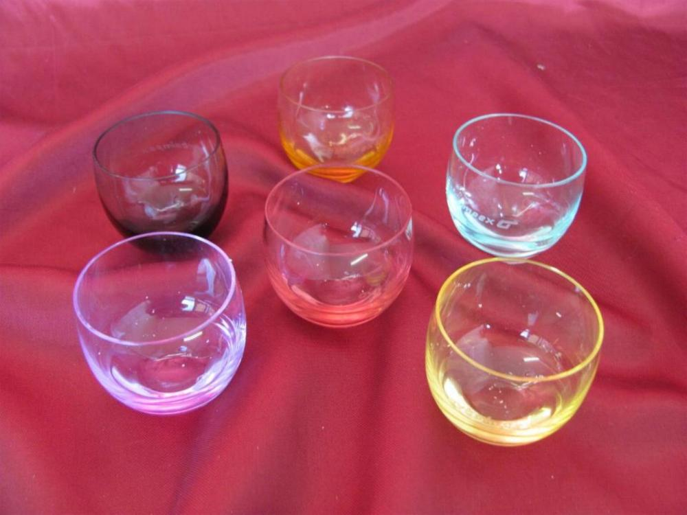 Vintage Moser Crystal Glass Cups 6pcs Set - Different Colors