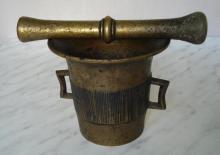 19c. antique apothecary brass mortar & pestle