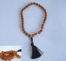 Old Muslim Islamic natural Baltic amber imam prayer beads rosary 34g