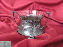 1900s Antique Art Nouveau WMF silvered bronze sugar bowl with glass insert marked