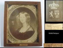 Antique 1865 original lithography of Belgium queen Rare