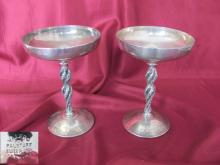 Vintage pair of Spanish silver plated grapevine goblets