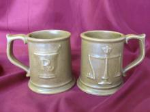Vintage set of two medical apothecary symbols ceramic mugs