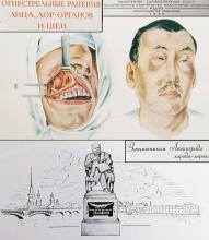 1949 vintage Russian hardcover medical book – Atlas face & neck firearm wounds