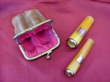 Antique set of two gold & natural amber cigarette holders with cartouche & fitted purse