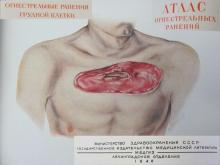 1948 vintage USSR hardcover medical book Atlas of chest firearm wounds Vol.3