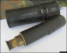 19c. Imperial Russia military folding telescope with leather case