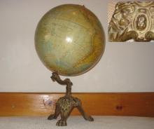 1800s antique gold plated gilded cast iron globe stand with globe