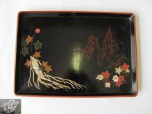 Vintage North Korea DPRK coffee tea tray salver with mother of pearl decoration marked