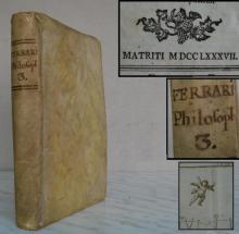 Antique 1787 Latin philosophy book Ferrari Rare