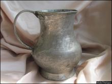 18c. antique Islamic Ottoman massive copper tinned pitcher jug