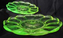 Vintage set of two opaline vaseline uranium crystal glass plates