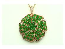 Silver inlaid jade pendant flowers