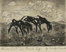 Crumbo, Woody Woodrow, etching Horse, Colt & Prarie Dogs