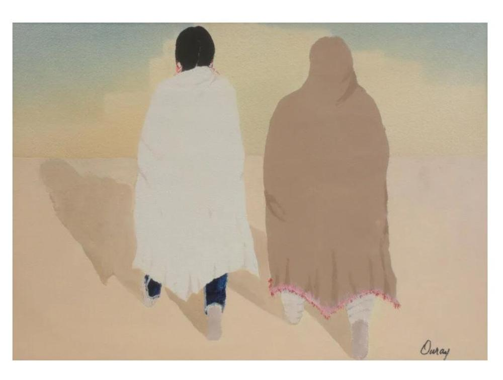 Ouray Meyers American 1938 – 2016 Watercolor painting New Mexico Pueblo Figures