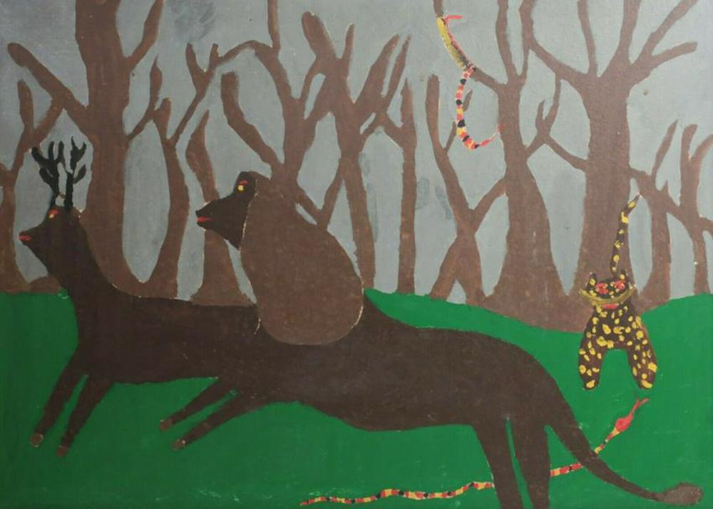 1952 Naïve Folk Art Oil Painting on board signed Animals in a Forest