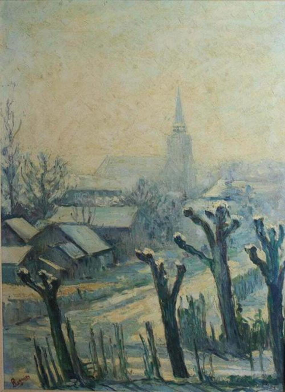 Mid Century A Regnier Oil Painting Impressionistic Landscape in Blues