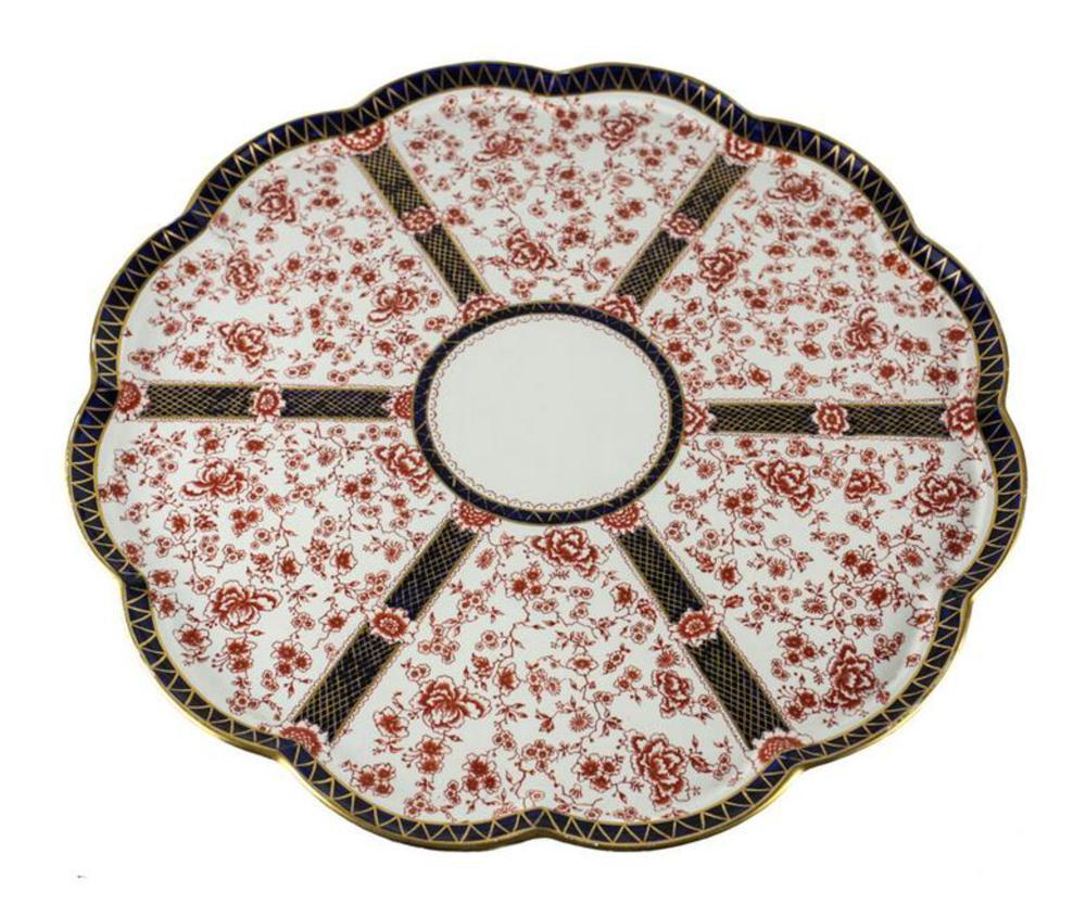 Royal Crown Derby Chatsworth Large Lazy Susan Serving Platter C1890 red floral