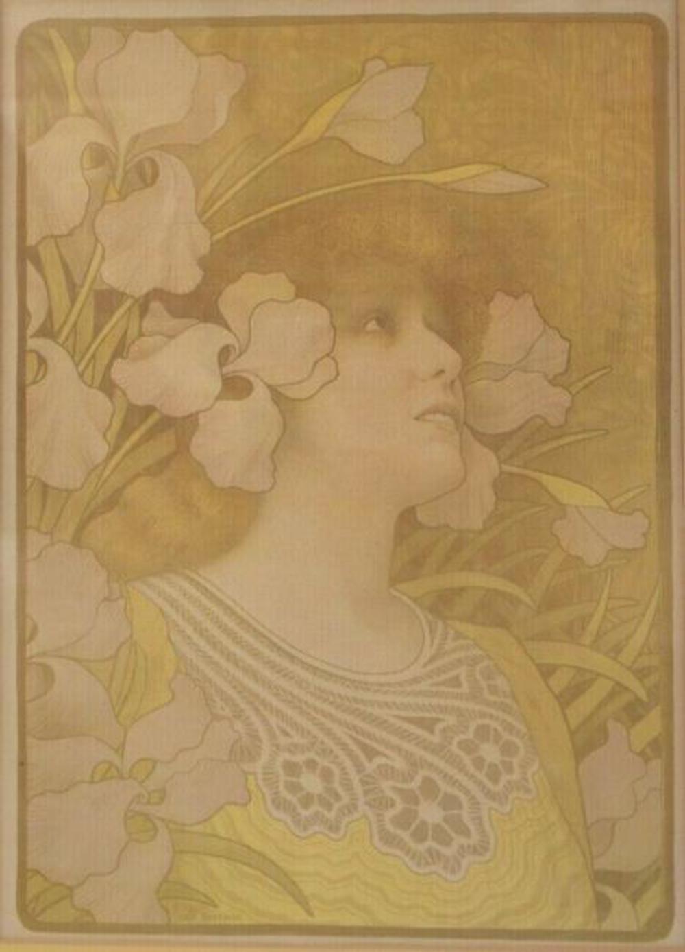 Paul Berthon (French 1872-1909) Art Nouveau Lithograph, Sarah Bernhardt c1901
