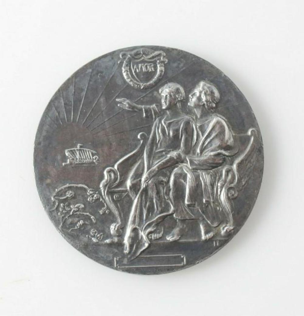 """W.J. Amor Sterling Silver """"AMOR"""" Commemorative Medallion, c1910"""