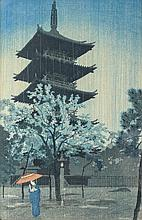 Shiro, Kasamatsu Woodblock Print Pagoda in Evening Rain