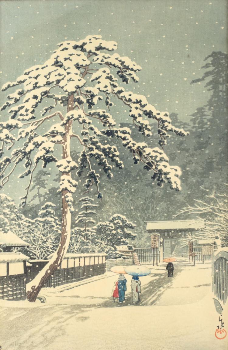 Hasui, Kawase Woodblock Print Honmon Temple
