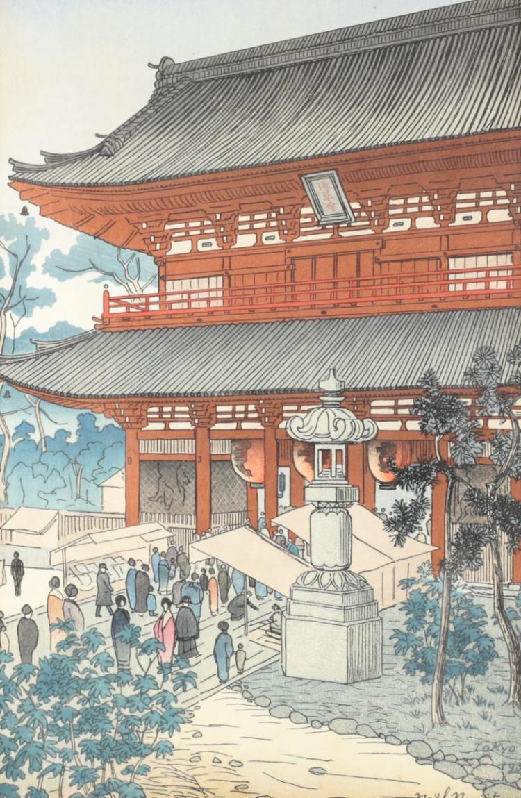 Nouet, Noel Woodblock Print Asakusa Temple