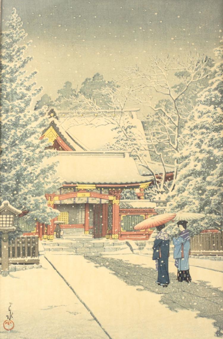 Hasui, Kawase Woodblock Print Snow at Hie Shrine
