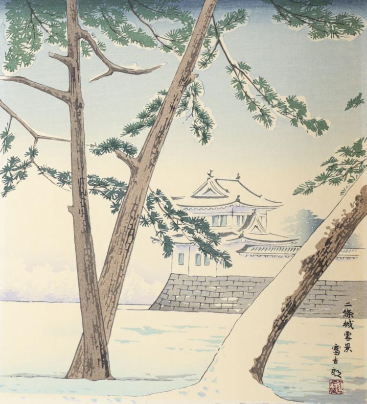 Tomikichiro, Tokuriki Woodblock Print Nijyo Castle