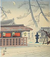 Tonmikichiro, Tokuriki Block Print Plum of Kitano Shrine