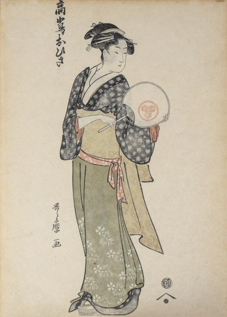 Utamaro, Kitagawa Block Print Takashma Ohisa