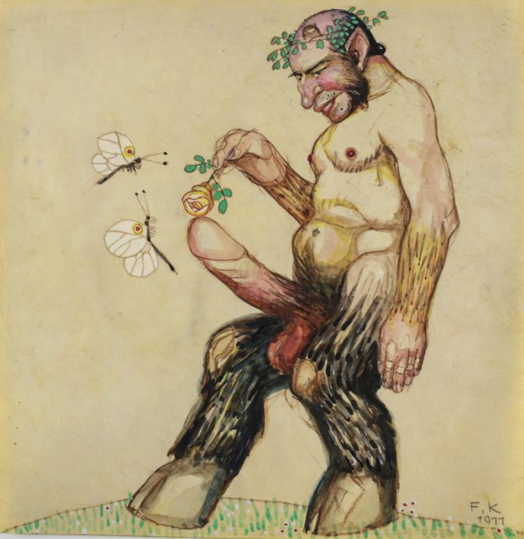 Kitt, Ferdinand Drawing Erotic Satyr